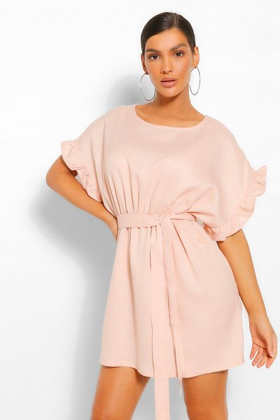 Boohoo Frill Sleeve Belted Shift Dress in blush