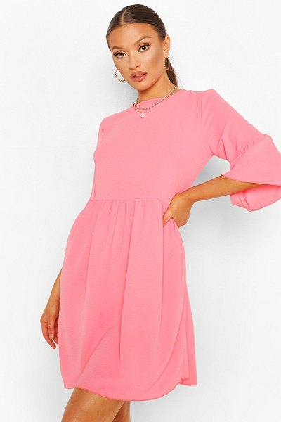 Boohoo Frill Sleeve Smock Dress in coral