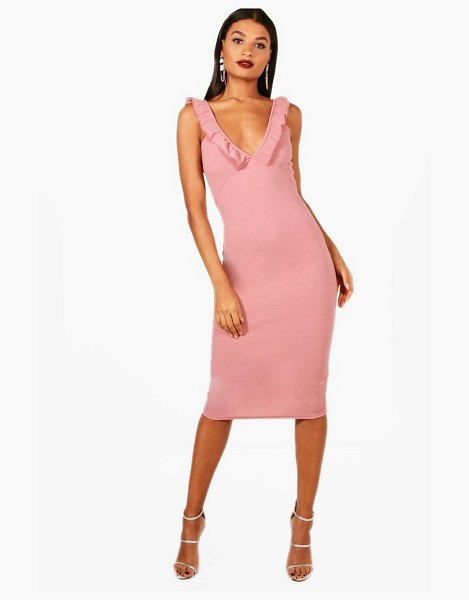 Boohoo Frill Strappy Plunge Midi Dress in rose - Dresses are the most-wanted wardrobe item for...