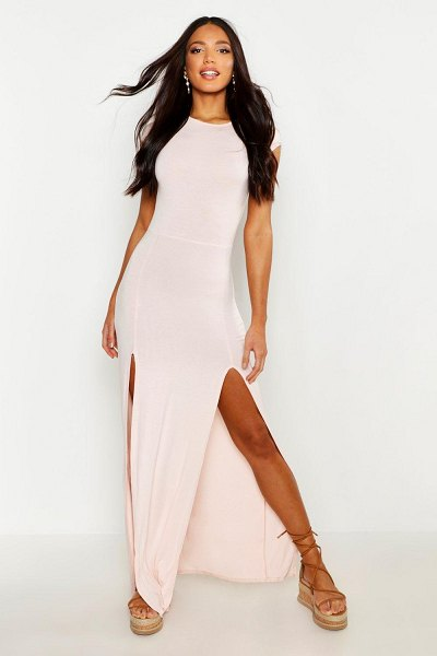 Boohoo Front Split Maxi Dress in nude