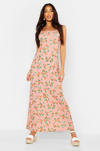 Boohoo Fruit Printed Square Neck Maxi Dress in pink