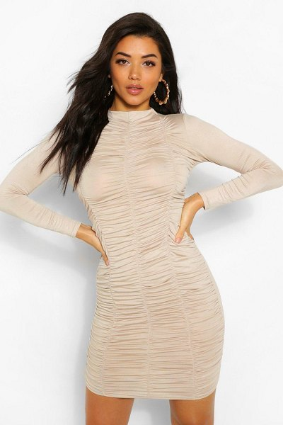 Boohoo Funnel Neck Ruched Mini Dress in stone