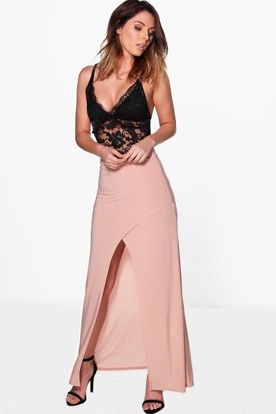 Boohoo Gabriella Wrap Front Split Slinky Maxi Skirt in blush