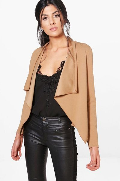 Boohoo Gaby Waterfall Blazer in camel - Wrap up in the latest coats and jackets and get...