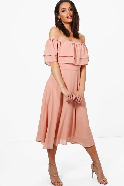 Boohoo Galores Chiffon Ruffle Midi Skater Dress in blush - Dresses are the most-wanted wardrobe item for...