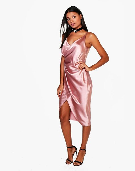 Boohoo Satin Wrap Strappy Midi Dress in rose - Dresses are the most-wanted wardrobe item for...