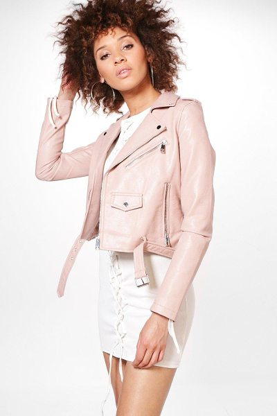 Boohoo Gemma Boutique Belted Faux Leather Biker Jacket in pink - Wrap up in the latest coats and jackets and get...