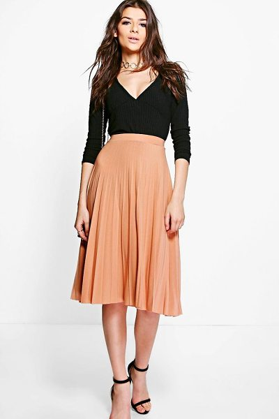 Boohoo Pleated Slinky Midi Skirt in mink - Skirts are the statement separate in every wardrobe This...