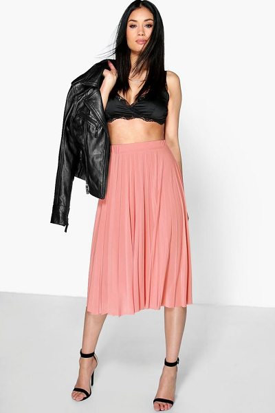 Boohoo Geneva Pleated Slinky Midi Skirt in rose