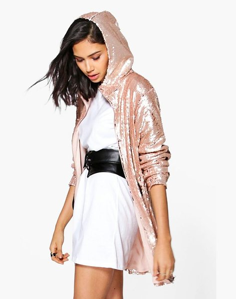 Boohoo Georgia Boutique Sequin Hooded Parka in blush - Wrap up in the latest coats and jackets and get...