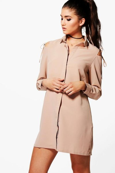 Boohoo Georgia Cold Shoulder Tie Detail Shirt Dress in sand - Dresses are the most-wanted wardrobe item for...