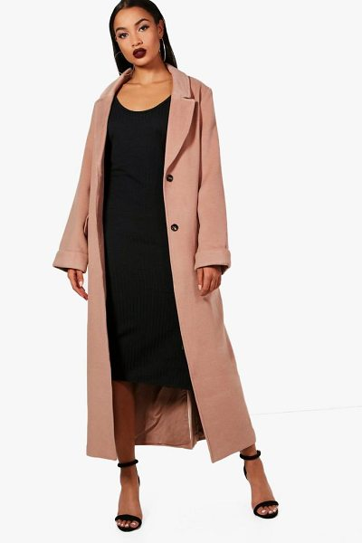 Boohoo Oversized Maxi Wool Look Coat in camel - Wrap up in the latest coats and jackets and get...