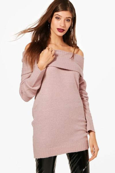 Boohoo Soft Knit Bardot Tunic in blush - Nail new season knitwear in the jumpers and cardigans...