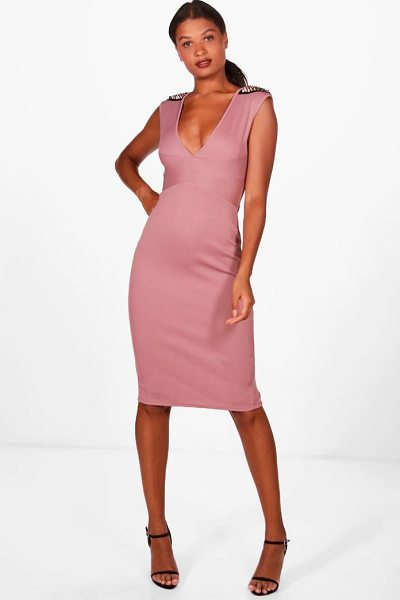 BOOHOO Georgia Studded Shoulder Detail Midi Dress - Dresses are the most-wanted wardrobe item for...