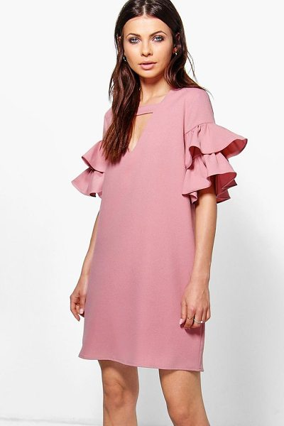 Boohoo Georgia Tiered Plunge Shift Dress in blush - Dresses are the most-wanted wardrobe item for...