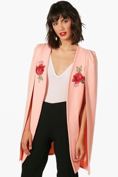 Boohoo Georgina Embroidered Longline Tailored Crepe Cape in nude - Wrap up in the latest coats and jackets and get...