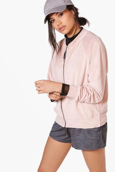 Boohoo Georgina Oversized Teddy Bomber Jacket in nude - Wrap up in the latest coats and jackets and get...