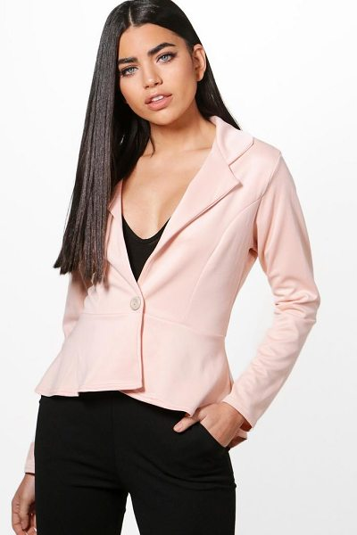 Boohoo Georgina Peplum Button Blazer in nude - Wrap up in the latest coats and jackets and get...