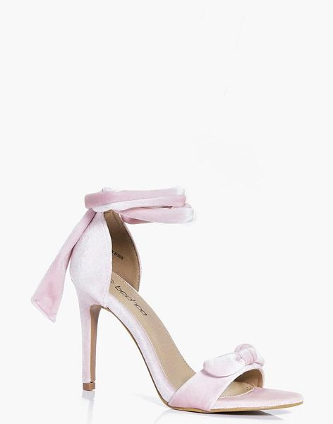 Boohoo Georgina Velvet Bow Two Part Heels in pink - We'll make sure your shoes keep you one stylish step...