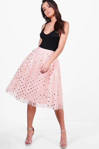 Boohoo Gigi Metallic Polka Dot Full Tulle Midi Skirt in rose - Skirts are the statement separate in every wardrobe This...