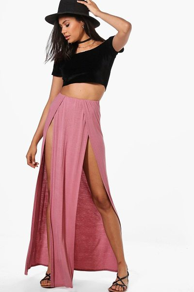 Boohoo Gisella Plain Double Split Front Maxi Skirt in rose - Skirts are the statement separate in every wardrobe This...