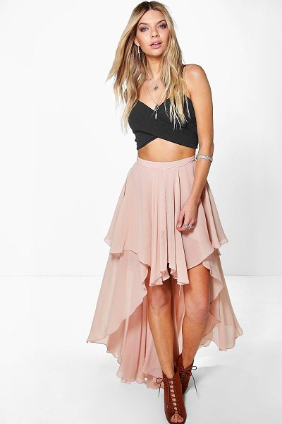 Boohoo Giselle High Low Hem Bohemian Maxi Skirt in nude - Party with your pins out in a statement evening...