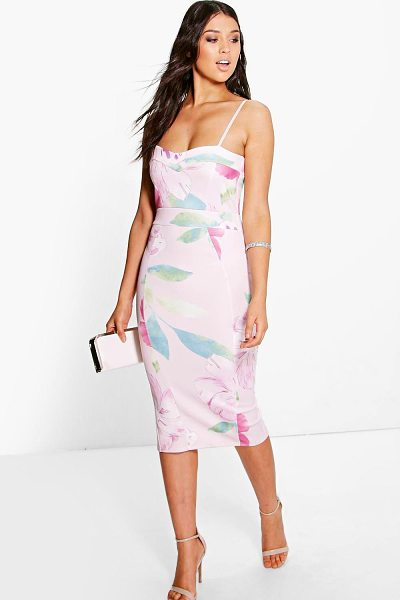Boohoo Glenda Floral Strappy Sweetheart Midi Dress in blush - Dresses are the most-wanted wardrobe item for...