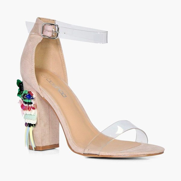 Boohoo Embellished Block Heel Sandals in nude - We'll make sure your shoes keep you one stylish step...