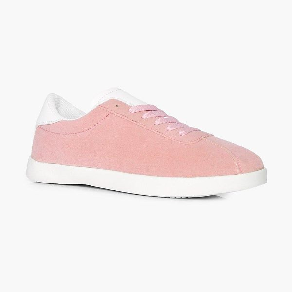 Boohoo Grace Lace Up Retro Trainer in pink - We'll make sure your shoes keep you one stylish step...
