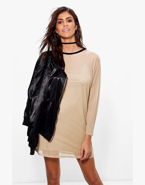Boohoo Grace Long Sleeve Mesh Shift Dress in sand - Dresses are the most-wanted wardrobe item for...