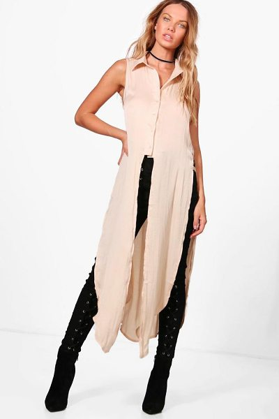 BOOHOO Grace Longline Button Up Shirt - Steal the style top spot in a statement separate from...