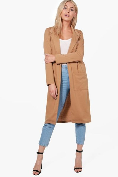 Boohoo Grace Pocket Ponte Duster in camel - Wrap up in the latest coats and jackets and get...
