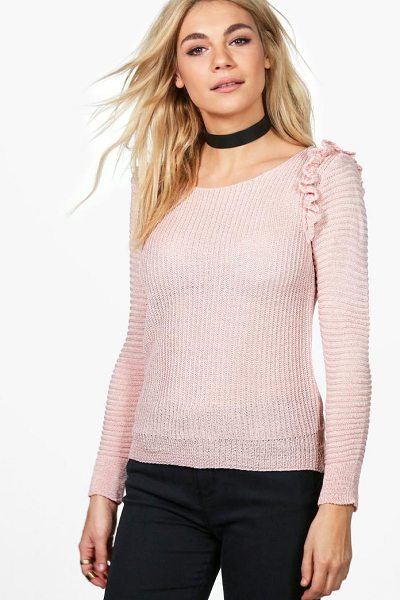 Boohoo Grace Ruffle Rib Jumper in nude - Nail new season knitwear in the jumpers and cardigans...