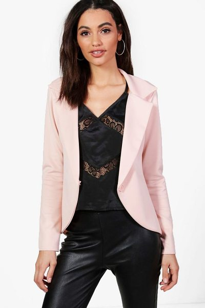 Boohoo Grace Scuba Button Blazer in nude - Add some classic tailoring to your wardrobe for...