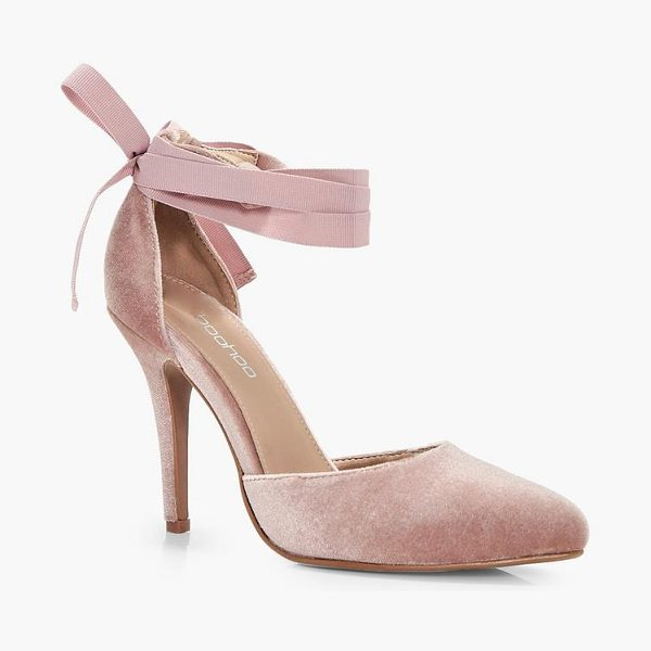 Boohoo Velvet Ribbon Tie Pointed Court Shoes in blush - We'll make sure your shoes keep you one stylish step...