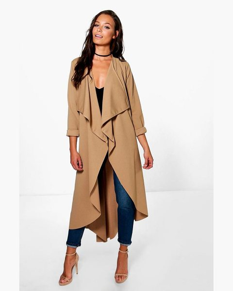Boohoo Grace Waterfall Duster in camel - Wrap up in the latest coats and jackets and get...