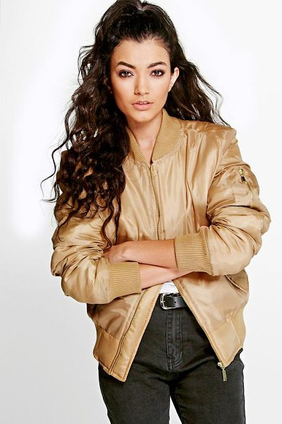 Boohoo Gracie MA1 Bomber in camel - Wrap up in the latest coats and jackets and get...