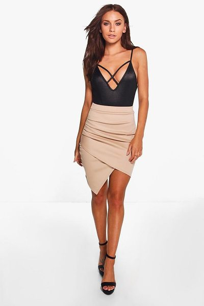 Boohoo Gracie Rouched Side Asymetric Skirt in sand - Skirts are the statement separate in every wardrobe This...