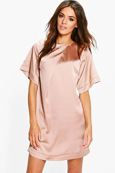 BOOHOO Gracie Satin Cap Sleeve Shift Dress - Dresses are the most-wanted wardrobe item for...