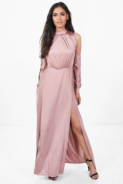 Boohoo Gracie Slinky High Split Maxi Dress in rose - Dresses are the most-wanted wardrobe item for...