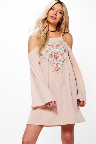 Boohoo Greta Cold Shoulder Flute Sleeved Shift Dress in blush - Dresses are the most-wanted wardrobe item for...