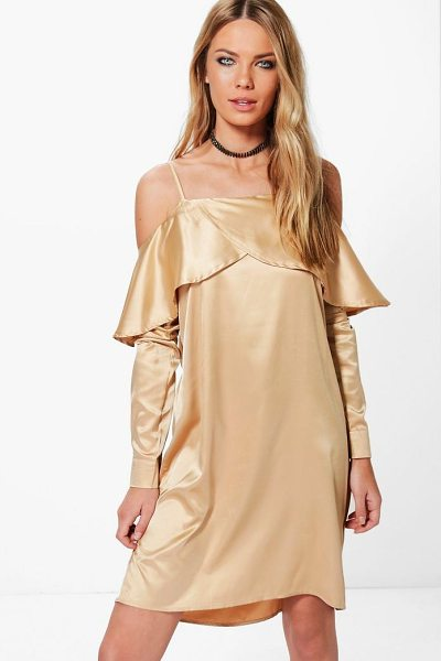 BOOHOO Satin Open Shoulder Frill Shift Dress - Dresses are the most-wanted wardrobe item for...