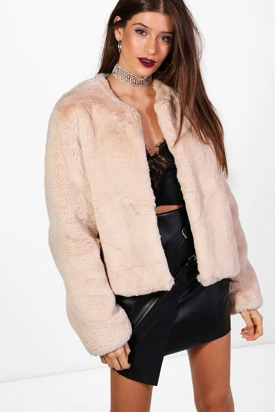 Boohoo Hailey Boutique Crop Faux Fur Coat in beige - Wrap up in the latest coats and jackets and get...