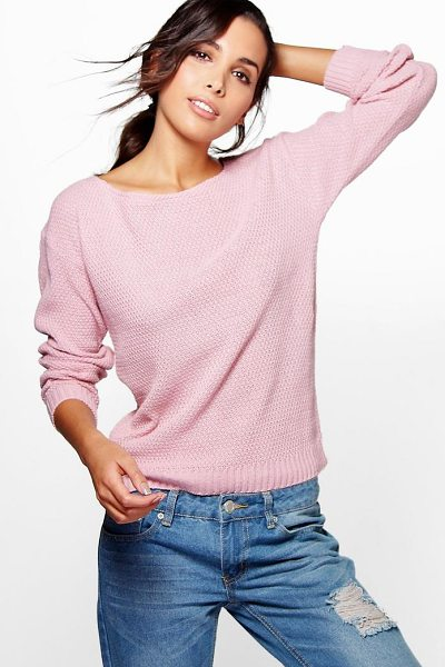 Boohoo Hallie Round Neck Moss Stitch Jumper in pink - Nail new season knitwear in the jumpers and cardigans...