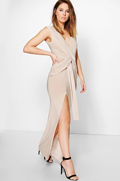 Boohoo Slinky Plunge Wrap Tie Maxi Dress in stone - Dresses are the most-wanted wardrobe item for...
