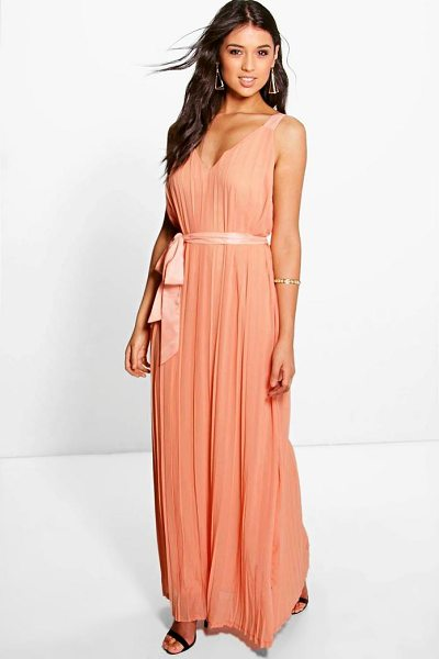 Boohoo Hanna Chiffon Pleated Plunge Neck Maxi Dress in apricot - Dresses are the most-wanted wardrobe item for...