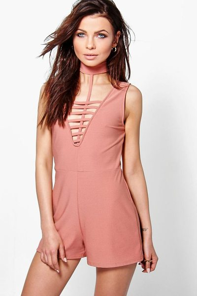 Boohoo Hannah Choker Style Playsuit in peach - Perfect for day or play, a playsuit will solve...