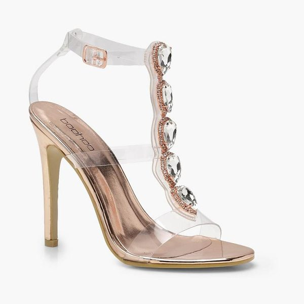Boohoo Clear Strap Embellished Heels in rose gold - We'll make sure your shoes keep you one stylish step...