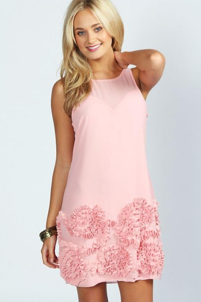 Boohoo Hannah Cornelli Detail Chiffon Shift Dress in pink