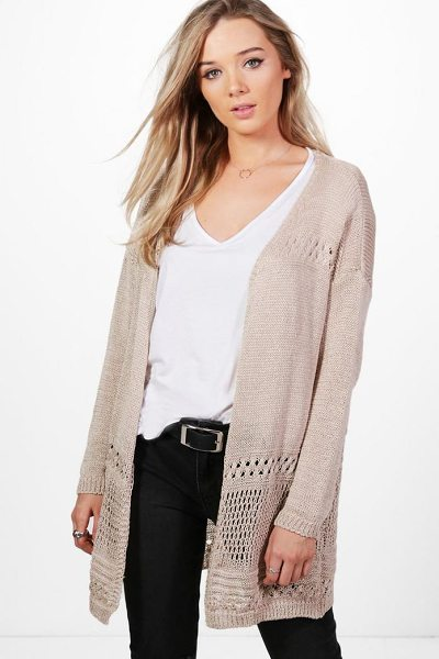 Boohoo Hannah Crochet Hem Cardigan in beige - Nail new season knitwear in the jumpers and cardigans...